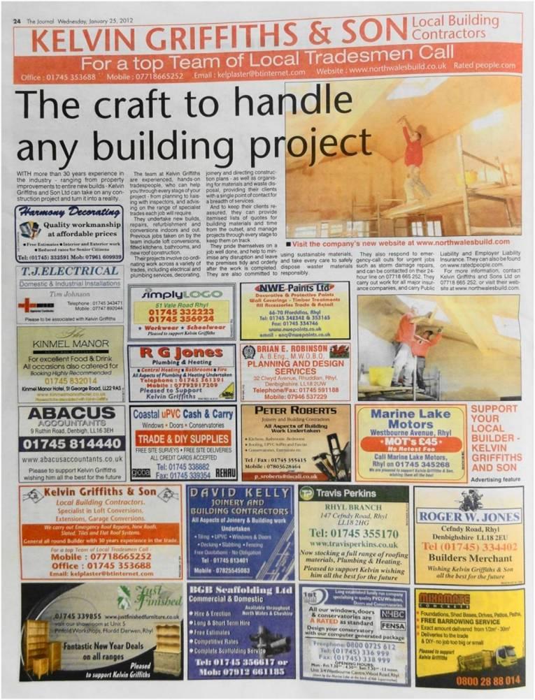 North Wales Builders newspaper advertorial