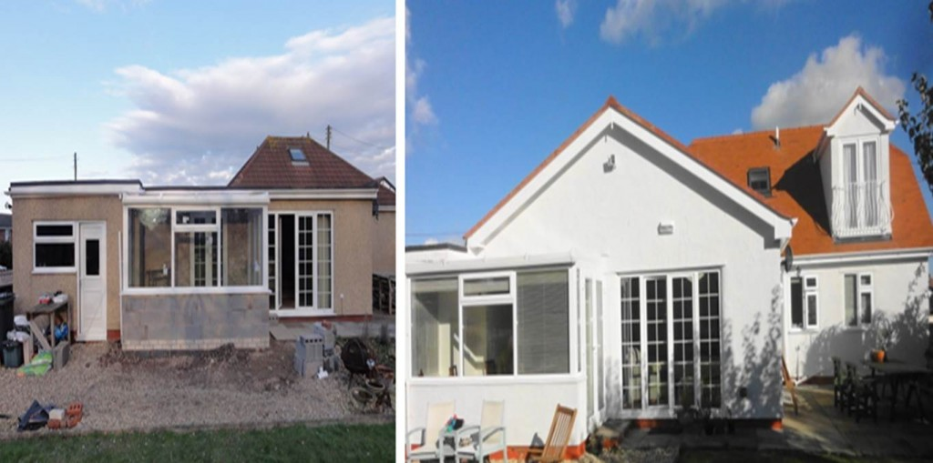 Before and after our North Wales vaulted ceiling construction in this bungalow renovation