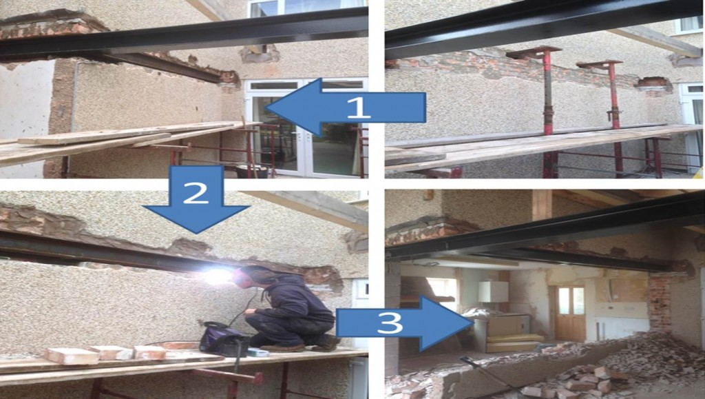Stages in construction of a Rhyl property extension by Kelvin Griffiths and Son
