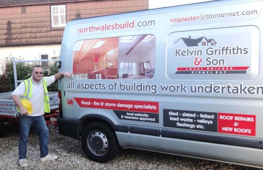 North Wales Builders van showing vaulted ceiling project